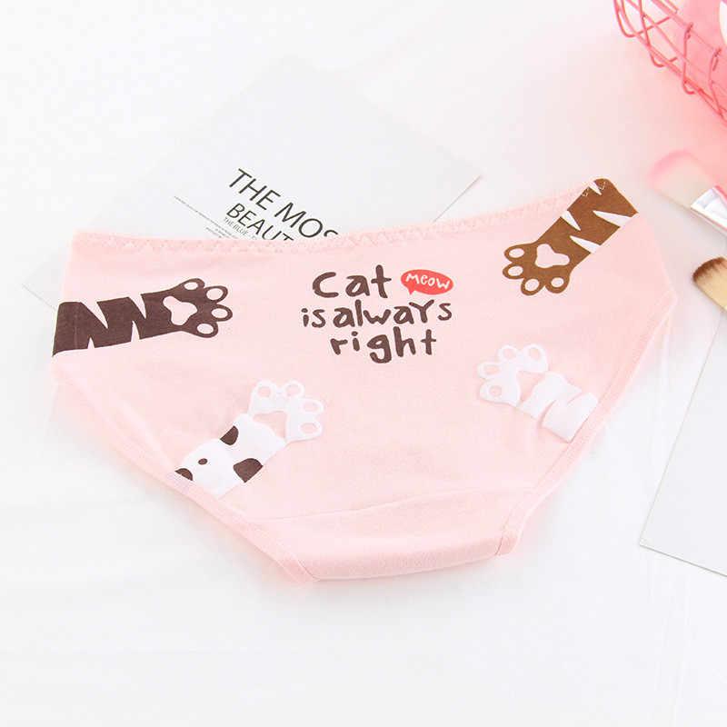 09b03c95ac28 ... HUI GUAN Kawaii Cat's Paw Women Underwear Panties Candy Color Girls  Panties Cute Cozy Breathable Soft ...