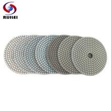 RIJILEI 10PCS/Set 5inch White Diamond Polishing Pad 125mm Wet polishing pads for Stone concrete floor Free shipping HC15