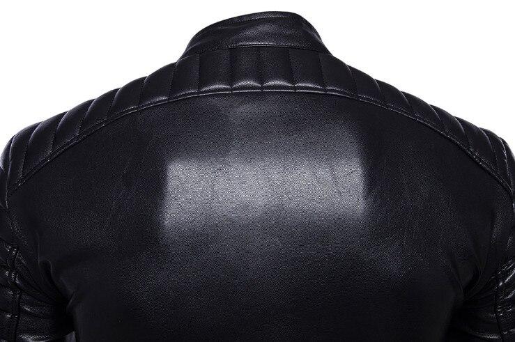 Soupe Dream classique moto veste en cuir hommes nouveau Style britannique multi-zipper veste décontracté cuir casual Biker veste mâle manteau. - 5