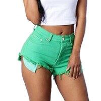 Candy Colors Woman Sexy High Waist Ultrashort Denim Shorts High Waist Solid Pockets Wide Legs Jeans