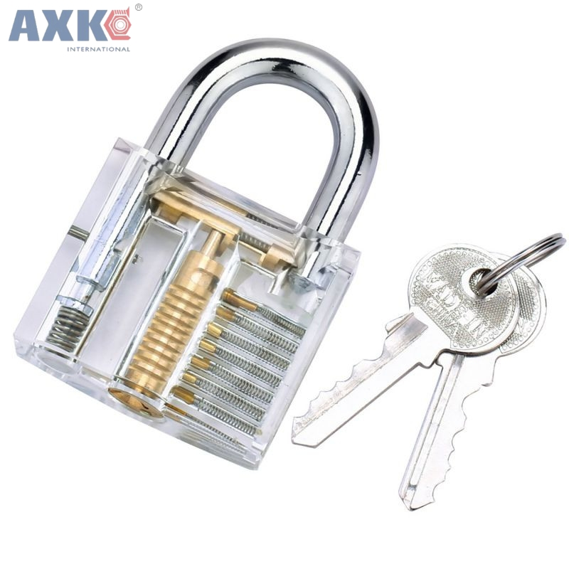 AXK Practice Lock With Broken Key Removing Hooks Lock Kit Locksmith Wrench Row Tension Tool Extractor Set Furniture Hardware clear padlock practice lock set with 5 pcs tension tools 10pcs broken key extractor set removing removal hooks lock kit