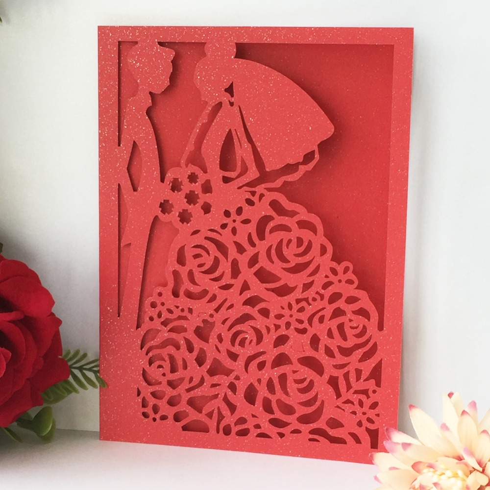 50pcs/lot Hot Selling Wedding Invitations Gift Greeting Card Laser Cut Pearl Paper Wedding Card 24 Colors image