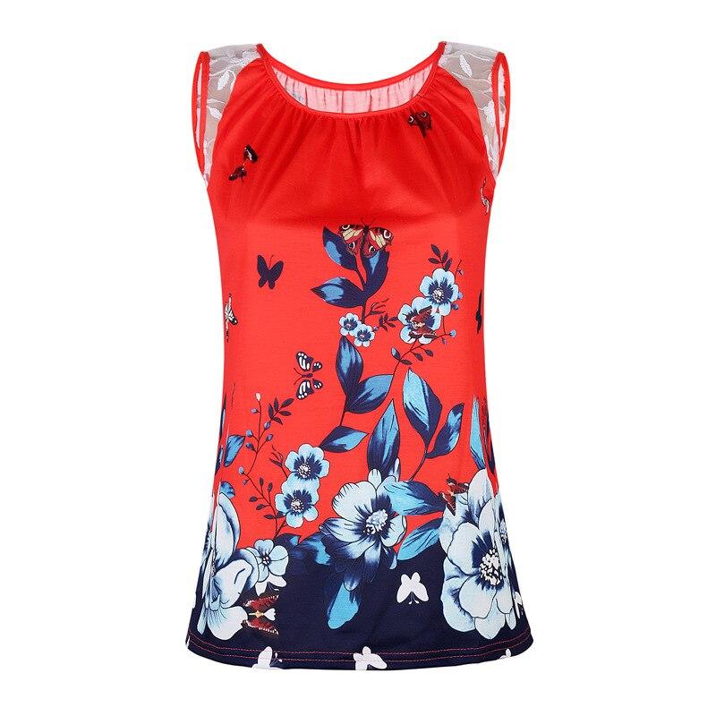 306045493 Women T-Shirts Stitching Lace Printed Lace Sleeveless T-shirt OM8660