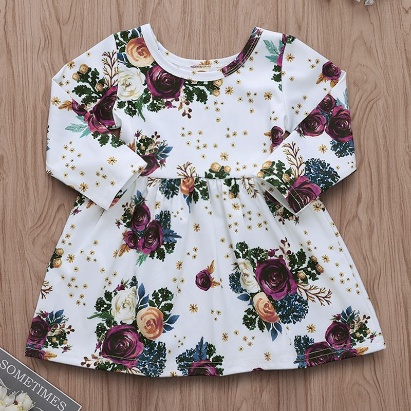 Toddler Infant Baby Girl Spring Autumn Rose Flower Long Sleeve Tutu Princess Dresses Pegeant Dress Prom 6M-5T(China)