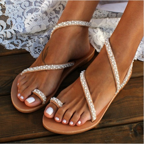 OLOMM Women Summer Sandals Fashion Pearl Bohemia Ladies Sandals String Bead Womens Sandals Flat Flip Flops Sapatos Feminino