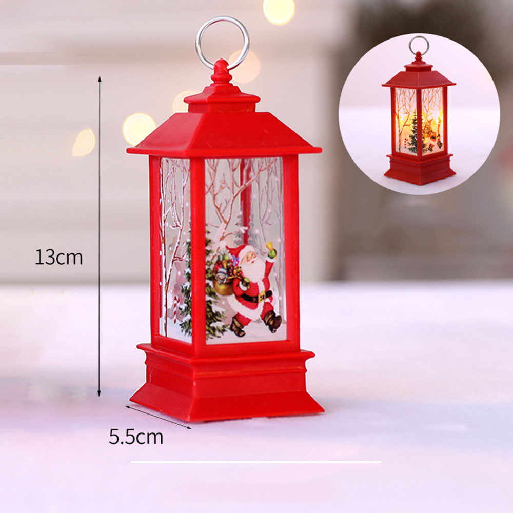 LED Christmas Candle with Holder LED Tea light Candles Cages Elk Santa Claus Printing Candlestick Christmas party Decoration#20