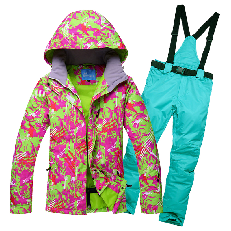 High Quality female ski suits jacket+pants Women waterproof breathable thermal cotton-padded woman snowboard clothes snow coats