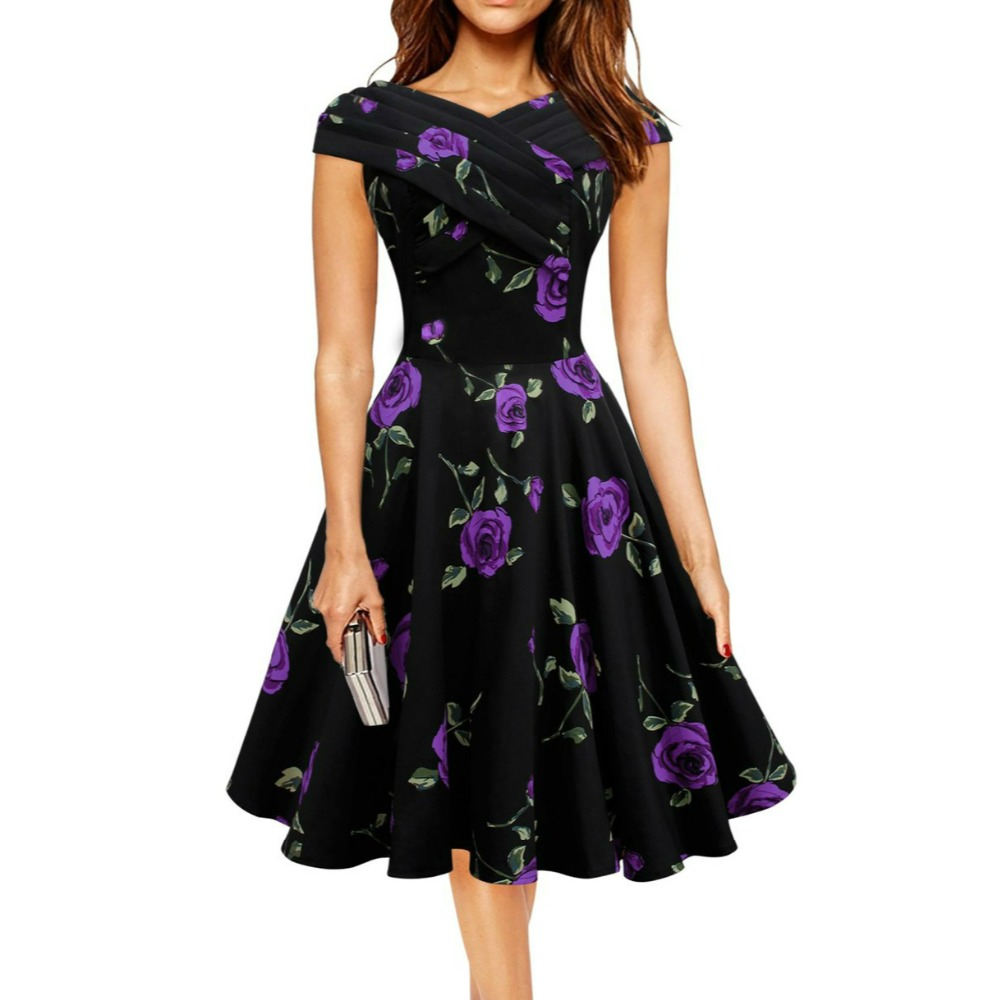 Audrey Hepburn style vintage front Cross slash neck floral dress robe vestidos women party