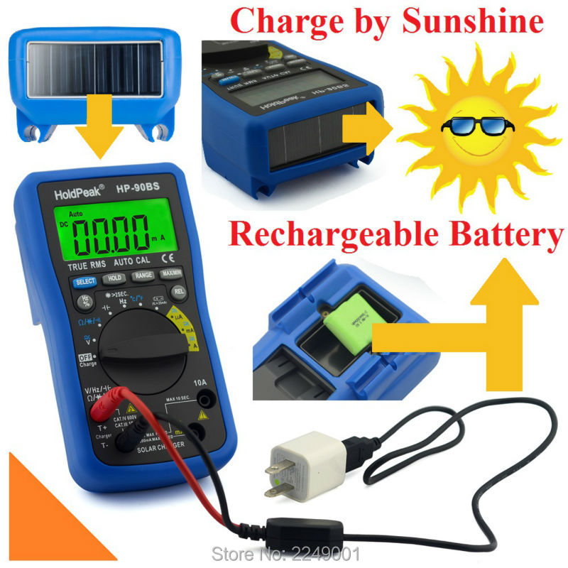 HoldPeak HP-90BS Rechargeable Multimerto Digital Auto Range Multimeter with True RMS Solar Charge holdpeak hp 760g 1000volt