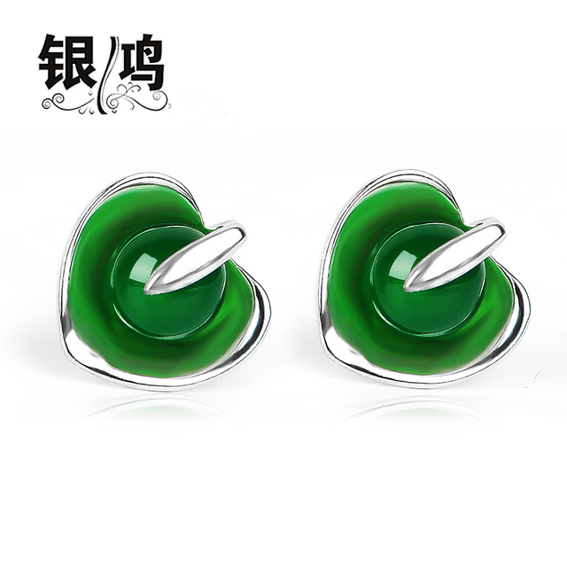 Verde natural semi-pedras preciosas ágata verde 925 Sterling Silver stud Earrings antigos ourives amor Das Mulheres do vintage jóias