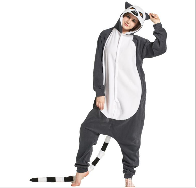 Christmas Halloween Birthday Gift Monkey cosplay Lemur Catta Pajamas Homewear Hoodie Onesies Sleepwear Robe For Adults