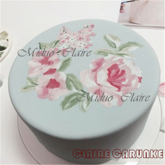 Classic Rose Wreath Outline Stencil Cake Painting Wedding Cake - Wedding Cake Outline