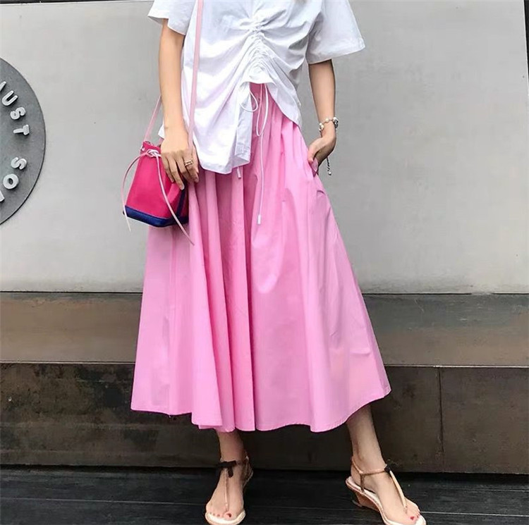 <font><b>Women's</b></font> Elegant cotton Linen Maxi Skirt 2020 Summer Casual <font><b>plus</b></font> <font><b>size</b></font> 5xl 6XL <font><b>7XL</b></font> candy color sweet Skirts feminina 11 Colors image
