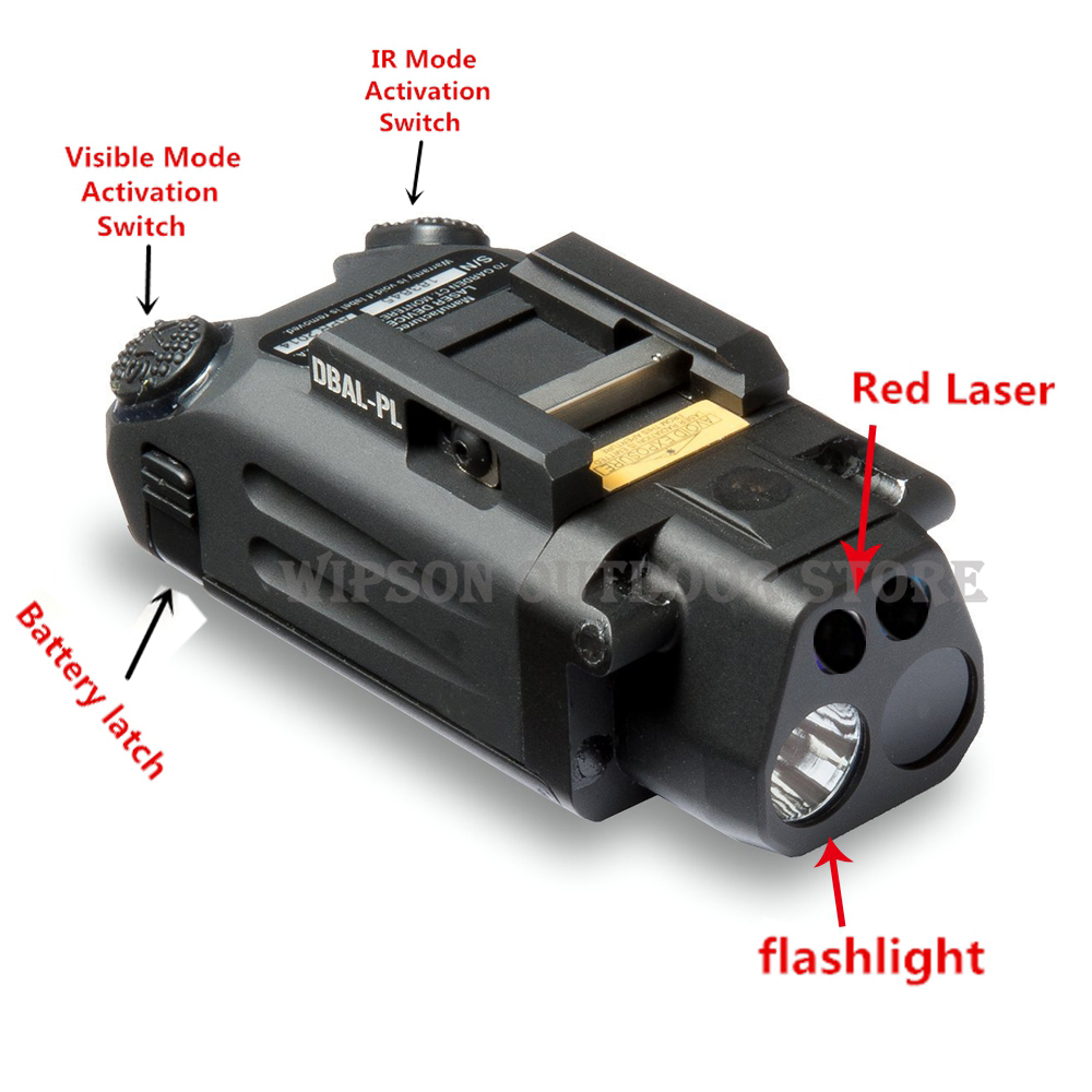 WIPSON DBAL-PL type light white LED 400 Lumens Flashlight With Red Laser IR LED illuminator /visible laser pointer greenbase dbal pl 400 lumen led flashlight tactical strobe red laser ir light ir laser for tactical rifles hunting weaponlight