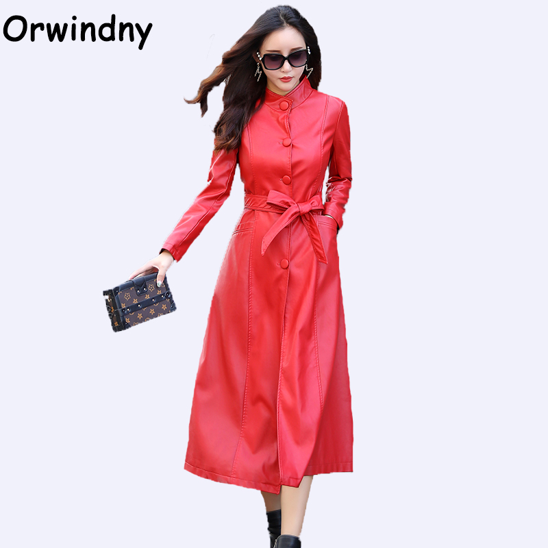 Orwindny 2019 Spring And Autumn Women X-Long   Leather   Coat High Street Sashes Slim Clothing   Suede   Jackets Outerwear Plus Size 5XL