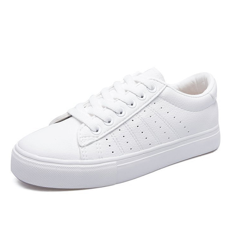 Women shoes 2018 spring and autumn new leather white shoes female wild casual sportsing shoes lace platform shoes woman
