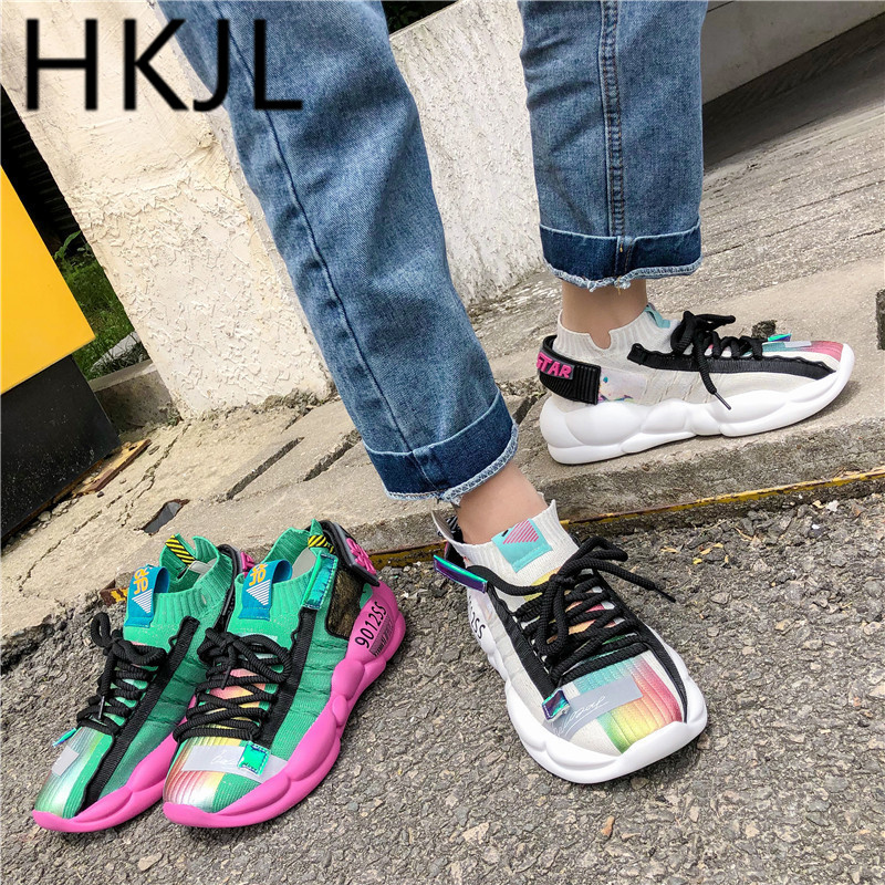 HKJL Fashion Father shoes ladies breathable socks spring/summer 2019 new all-in-one platform sneakers A568