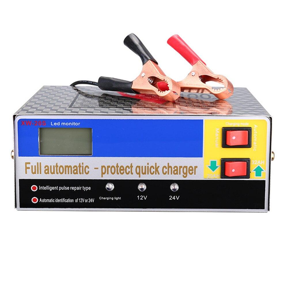 Cargador automático inteligente de 12V/24V, reparación de pulso, mantenimiento de batería de coche para batería de plomo ácido/litio