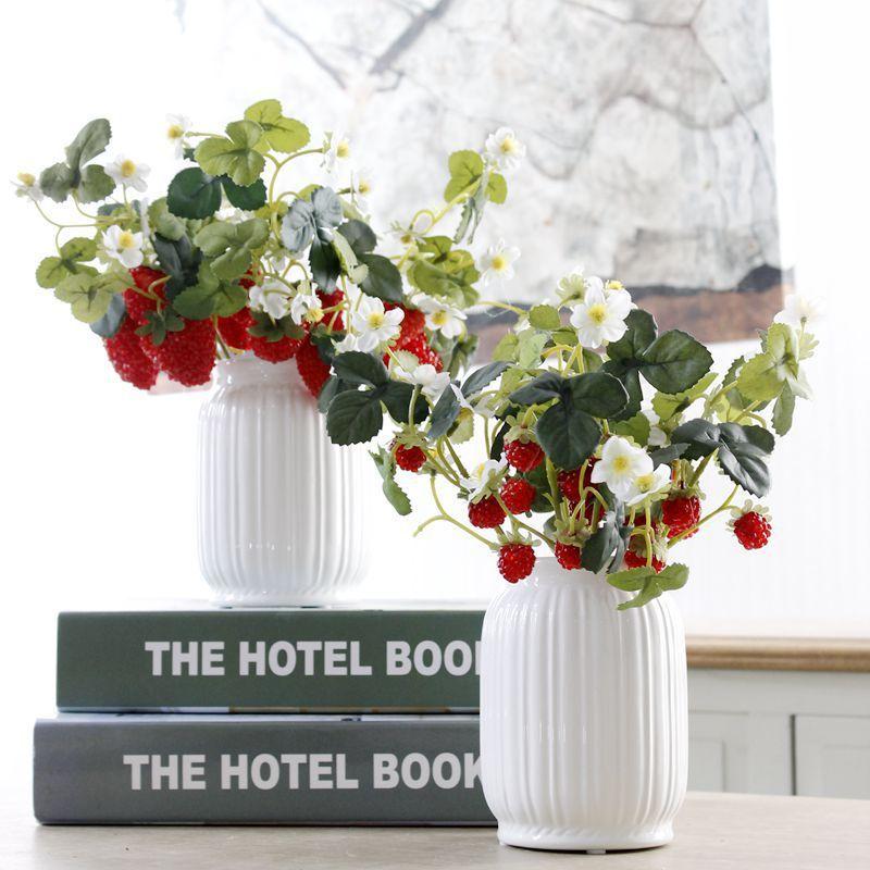6Heads 1pcs אקריליק תות פרחים מלאכותיים - חגים ומסיבות