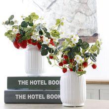 6Heads 1pcs אקריליק תות פרחים מלאכותיים פרחים עבור צד גן הבית פרחוני תפאורה קישוט החתונה פרח מזויף 52089