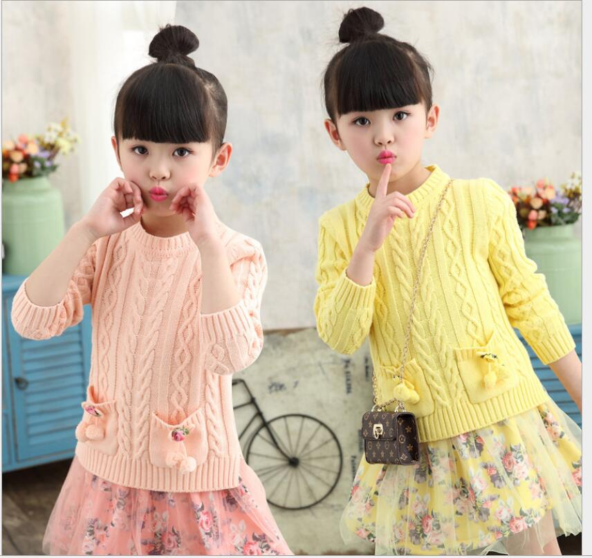 Linen Pullover Knitted Sweater big girls clothes one piece long sweater dress yellow sweater girl flower
