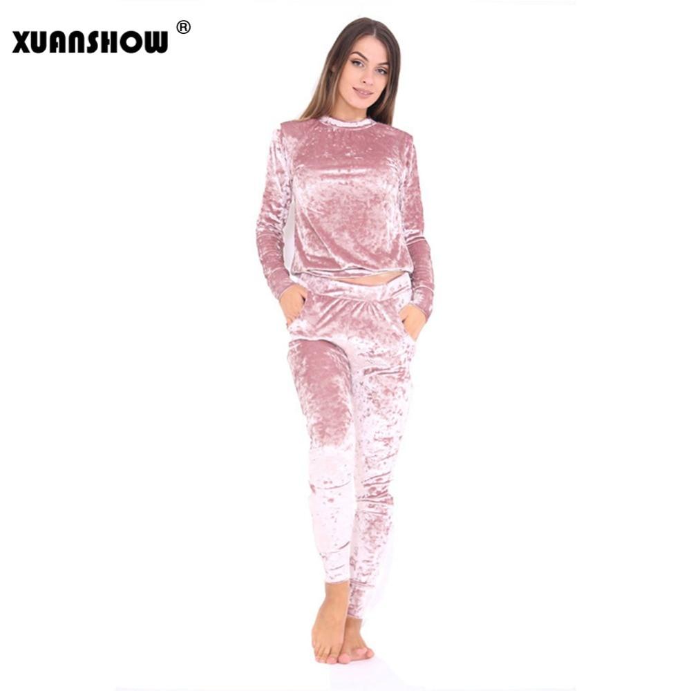 Womens Tracksuits New Spring Autumn Fashion Velvet Long Sleeve Women 2 Piece Set Slim Pants+Sweatshirt Sets Survetement ...