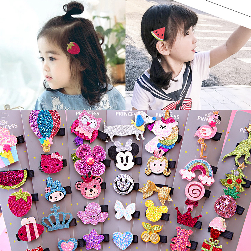 5PCS/Pack children Hair Clips cute Handmade Cartoon Bow flower Hairpins Barrettes Kids Girls Hairgrips Headwear Hair Accessories