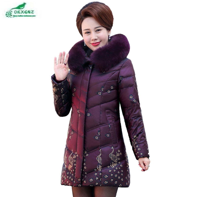 New feather cotton Outerwear female medium long thickening big Fur collar women winter jacket coat plus size clothing OKXGNZ maternity clothing top with a hood medium long thickening cardigan autumn and winter plus size outerwear female sweater