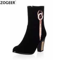 Hot 2018 Winter Autumn Women Boots Luxury Charm Black Red Mid calf Boots High Heel Fashion Flock Shoes Woman Plus Size 34 43