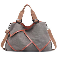 Multi-Functional Patchwork Canvas Handbag Large Capacity Ladies Handbag Shoulder Bag