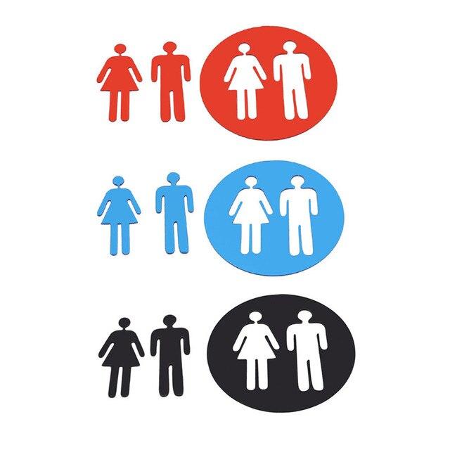 Creative Toilet Stickers Men Womens Sign WC Wall Bathroom Door Funny Cartoon Woman