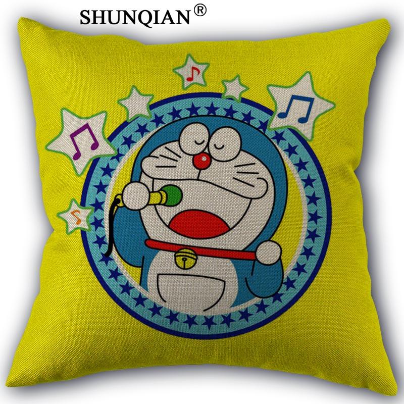 Doraemon Linen Cotton Pillow Covers Printed Square Home Decorative No Core Pillowcase 45x45cm one side