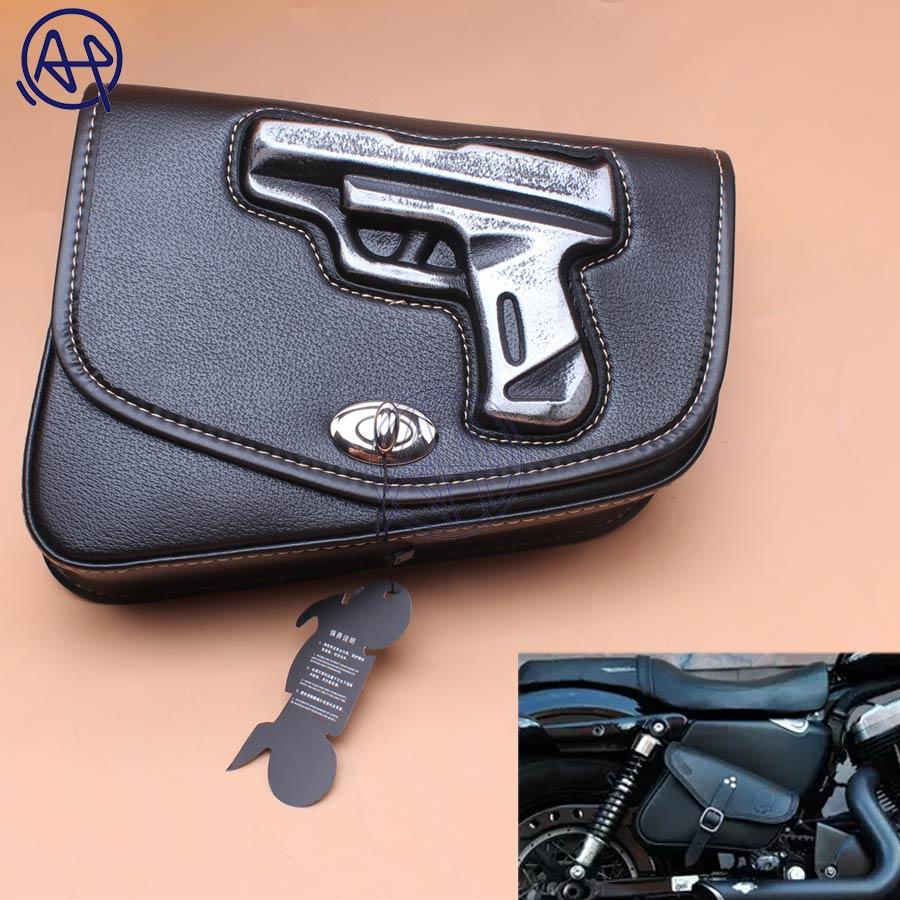 1pcs Motorcycle Black PU Leather Right side Gun Logo Saddlebag Saddle Bag Universal For Harley Sportster XL883 1200 sacoche pistolet