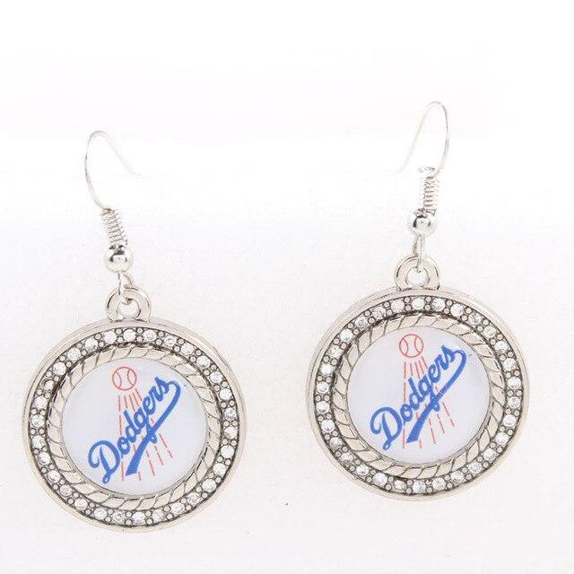 Baseball Fashion 25mm Round Crystal Dangle Earrings Los Angeles Dodgers Hook Sport Team Logo Jewelry