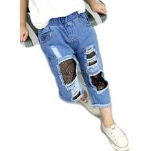 3-8-año-chica de personalidad de la moda agujero banda elástica cómodo pantalones vaqueros de algodón chico grande redes de pesca pantalones