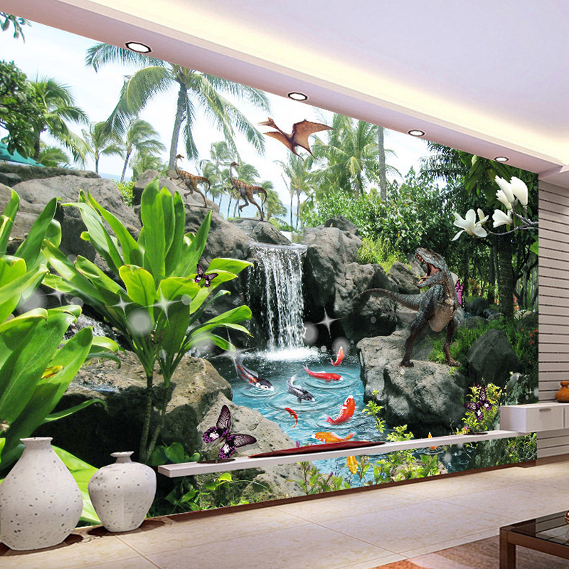 Custom Photo Wall Paper 3D Park Landscape Dinosaur Background Wall Decor Painting Living Room Sofa TV Backdrop Wallpaper Mural custom 3d stereoscopic large mural wallpaper wall paper living room tv backdrop of chinese landscape painting style classic