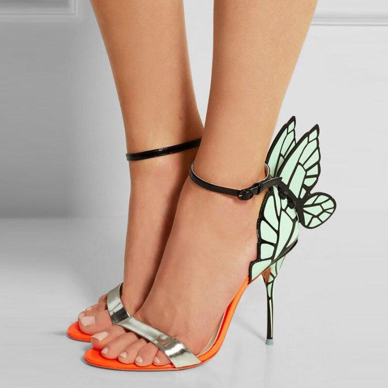الصيف 2019 المرأة أحذية الحفلات فراشة الصنادل الزفاف أحذية الخنجر عالية الكعب مفتوحة اصبع القدم النساء الأحذية أجنحة صنادل عالية الكعب-في كعب عالي من أحذية على  مجموعة 2