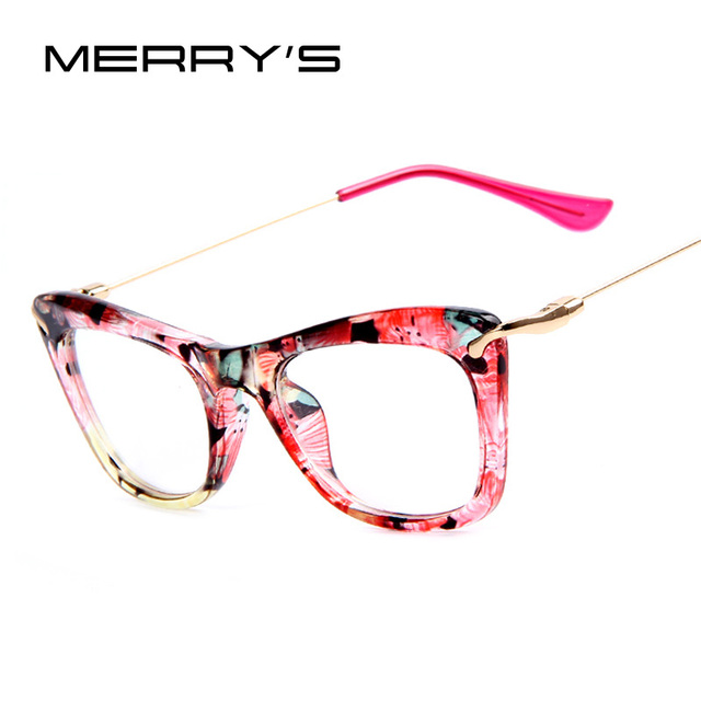 7ce7d72dd5 MERRY S Fashion Women Cat s Eye Glasses Frames Print Frame Cat Eye Glasses  Women Eyeglasses Frames Metallic