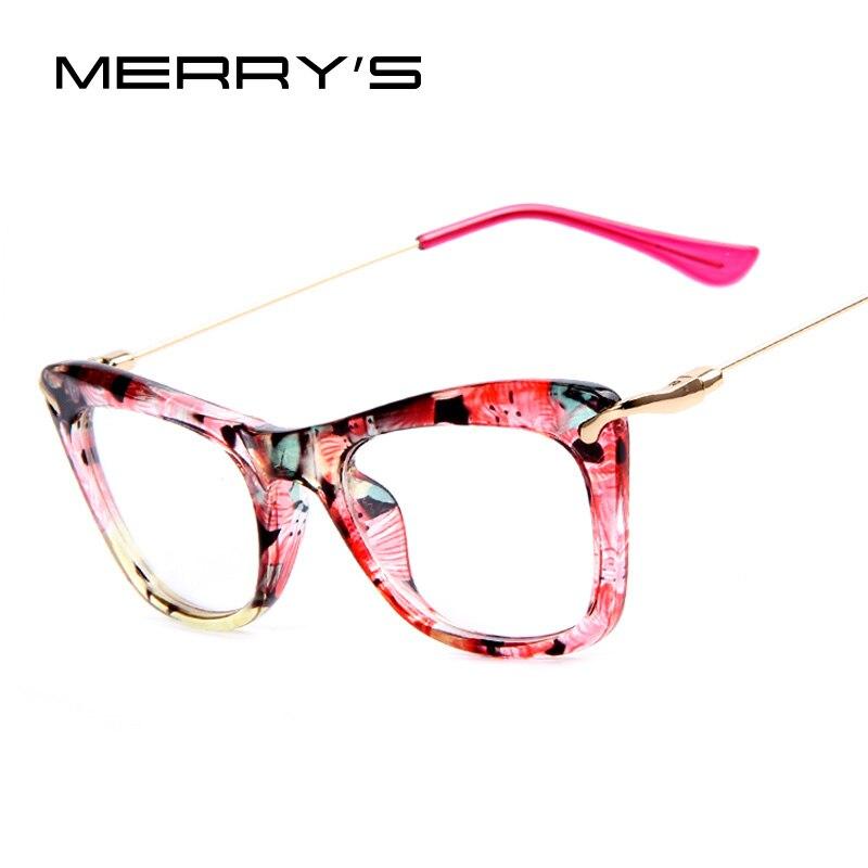 MERRY\'S Mode Frauen Katzenauge Glasrahmen Druck Rahmen Katze Brillen ...