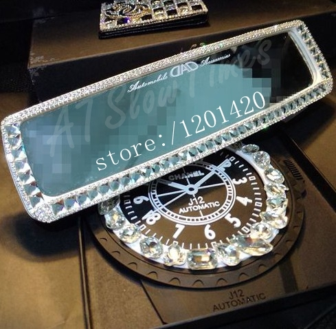 Sparkly Glitter  Women Rear View Mirror Unique  Accessories Cute Fashion Gifts for Lady Girls Clean Rhinestone Crystal Bling Out