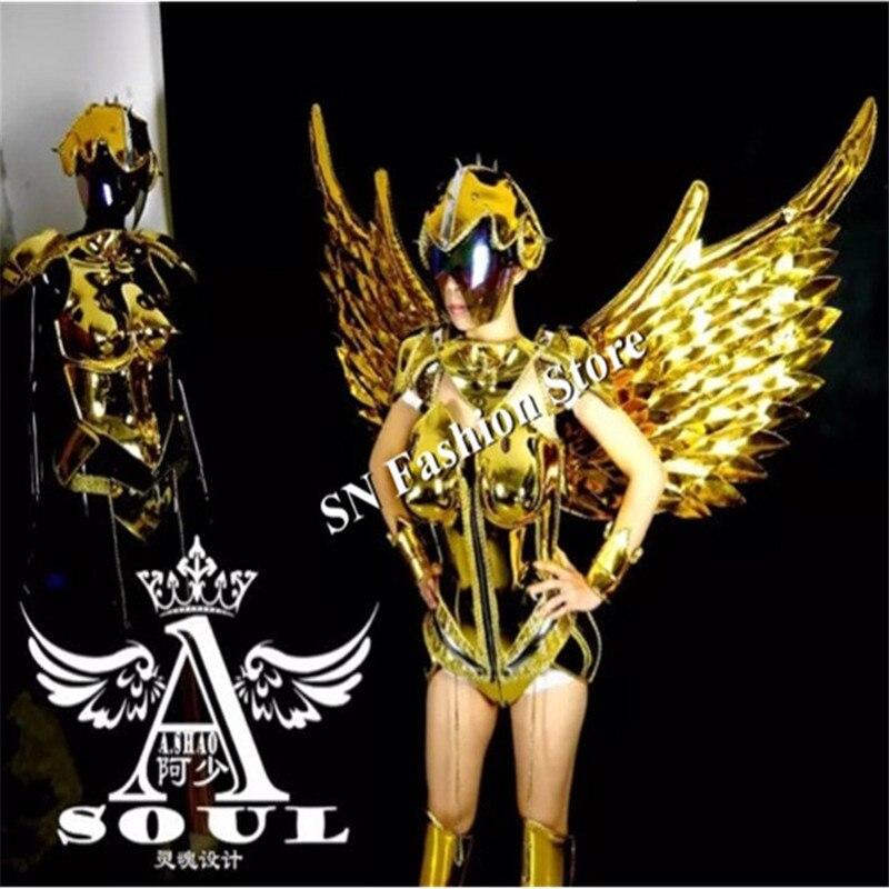 ES001-1 kuldne peegli kostüümid / võidusõidu tiivad riietus / - Pühad ja peod - Foto 2