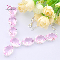 Best Seller Europe Popular Round Bright Pink Quartz Crystal Necklaces For Women Wedding Jewelry Necklace N090