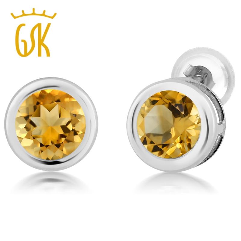 Gemstoneking 1 40 Ct Round 6mm Yellow Citrine 14k White Gold Stud Earrings S Mother Gift Fashion Lady