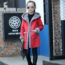 купить Fashion Girls Winter Coat Kids Long Hooded Jackets Thicken Warm Outerwear Baby Clothing Children Outerwear Cotton Clothes дешево
