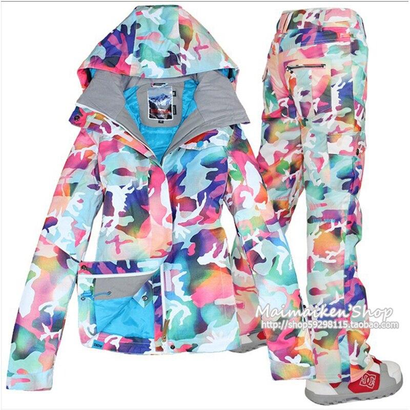 GSOU NEIGE femmes de camouflage combinaison de ski d'hiver en plein air coupe-vent imperméable épais chaud respirant veste de ski ski pantalon taille XS-L