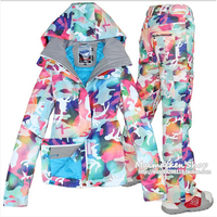 GSOU SNOW women's camouflage ski suit winter outdoor windproof waterproof thick warm breathable ski jacket ski pants size XS L