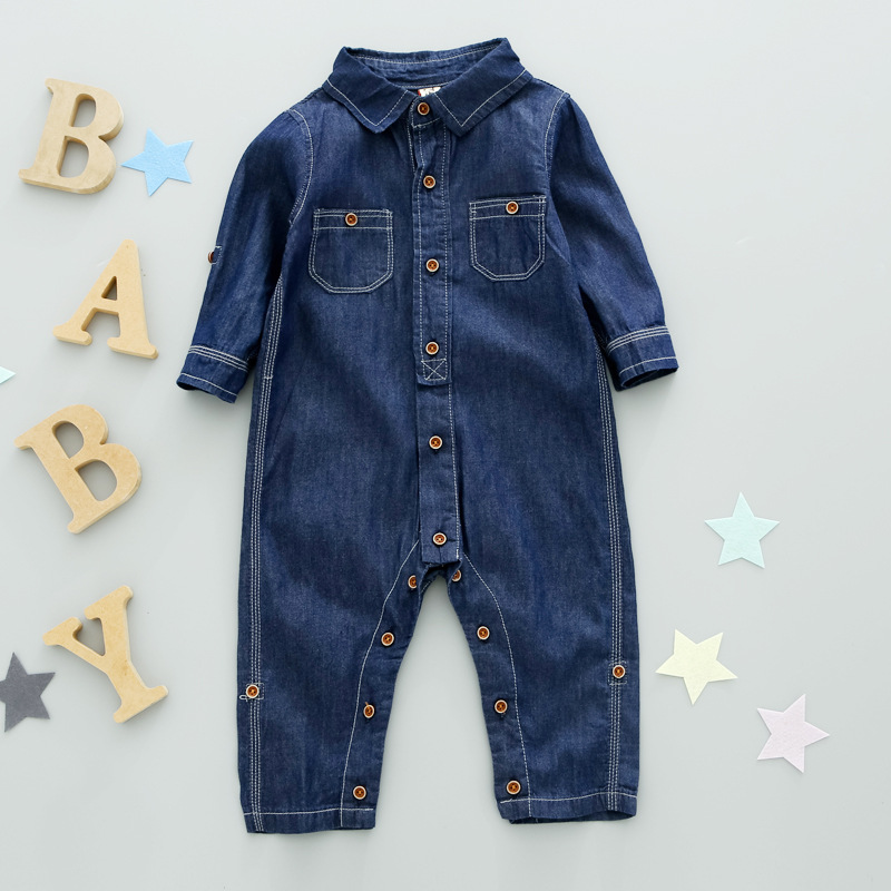 kids girls boys denim overalls baby thick long Sleeve Single-Breasted Side Pockets casual Denim Jumpsuit children clothing 1-6T single breasted side checked dress