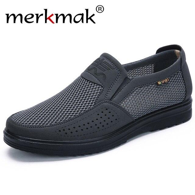 Merkmak 38-48 Estilo Malha Flats Calçados Casuais Dos Homens Dos Homens de Verão Para Homens Trepadeiras Loafer Casual High-End sapatos Muito Confortáveis sho