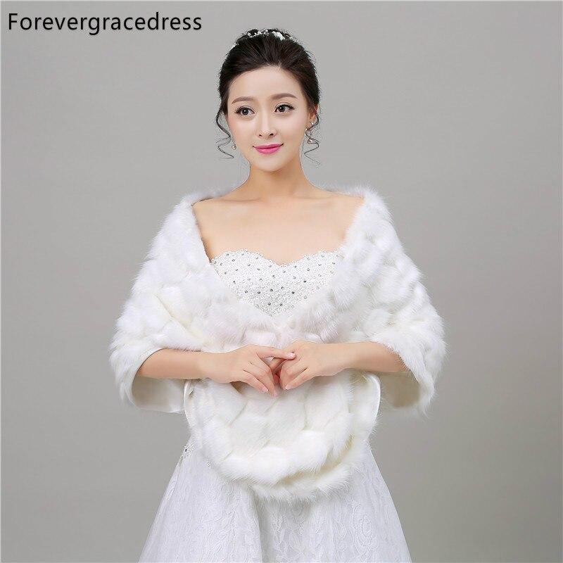 Forevergracedress 2018 New Winter Season Faux Fur Wedding Wrap Bolero Jackets Bridal Coat Cape Cloak Shawls Scarves In Stock