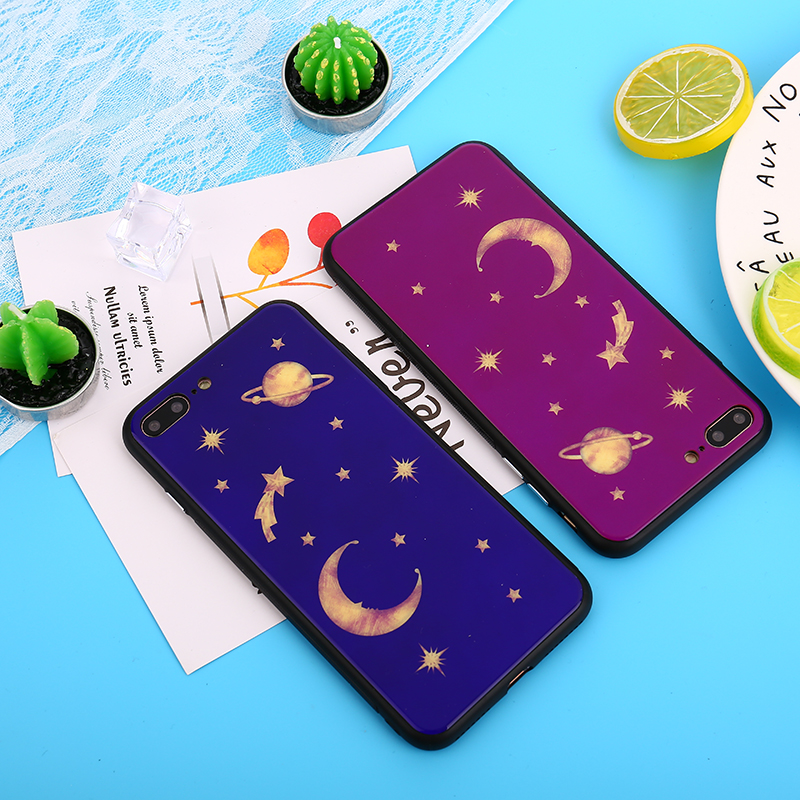 Glossy Cartoon Planet Moon Stars Case For iPhone X Universe Series Hard PC Back Cover Phone Cases For iPhone 7 Plus 6 6S 8 Plus